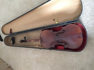 Vintage Antique - Very Old Violin With Antique Wood Case.