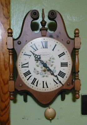 Vintage New England Kitchen Clock Bristol Conn.8 Day Wind Up Hand Paint Flowers