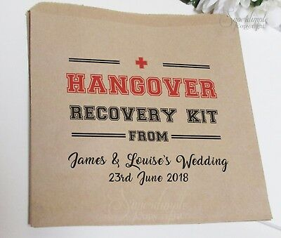 Personalised Wedding Sweet Favour Bags Brown Paper Hangover Survival Kit Hen HOS
