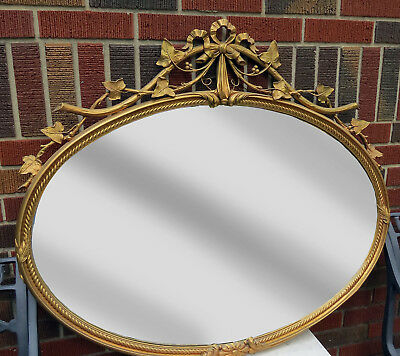 "ANTIQUE ITALIAN WOOD CARVED BAROQUE GOLD ITALIAN FRAME HANGING OVAL MIRROR 38"" w"