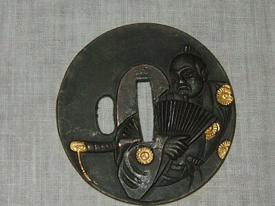 Japanese Samurai Gold Plated, Sword Guard, TSUBA, Man With Fan