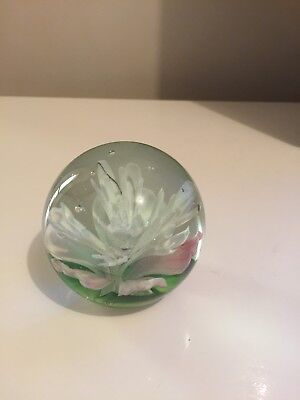 Glass Paperweight With Flower