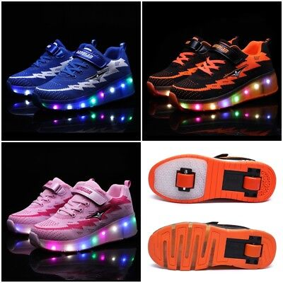 New LED Rechargeable Shoes Single/Dual Wheels Roller Skates Light Up Sneakers AU