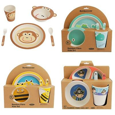 Children's 5-Piece Bamboo Fibre Dinner Set - Natural, Eco Friendly & BPA Free