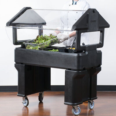 4' BLACK Plastic NSF Open Base Portable Food / Salad Bar with Sneeze Guard, USA