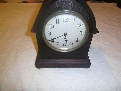Antique Seth Thomas 2 key wind mantel clock chiming walnut case