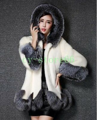 Womens Faux Fur Winter Coats Jackets Parka Hooded Cape Clothes Evening Party HOT