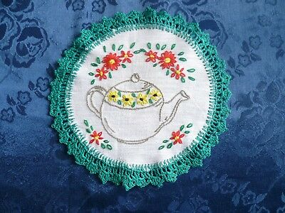 Vintage Hand Embroidered Teapot Small Doiley With Green Hand Crocheted Edge