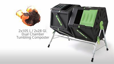 210L DUAL CHAMBER Tumbler Rotating Compost Bin Composter Garden Waste Recycle