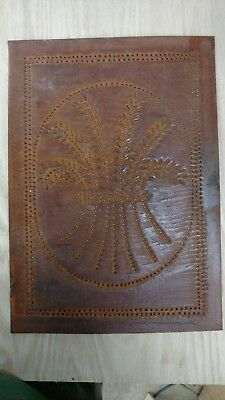 set of 4 New Antique copper wheat tin punched antique copper cabinet panel