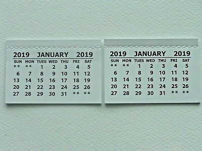 2 Mini 2019 Monthly Tear Off Calendar Pads (Jan-Dec) Back Page Is Blank Crafts