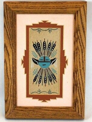 Small Navajo Handmade Sandpainting Native American Art Sand Painting Framed