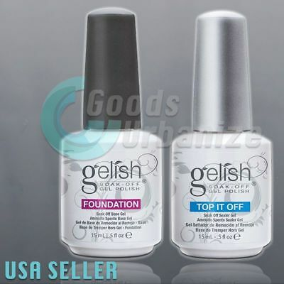 GELISH Harmony Soak Off UV LED Gel Nail Polish Foundation Base & Top Coat 15 mL