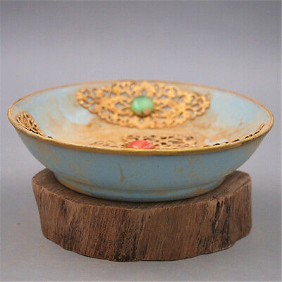 Chinese ancient antique hand make Gold glazed small gold saucer