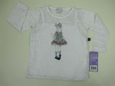 Plum Sister Baby Girls Long Sleeve Top With Built In Cami sizes 1 4 Colour White