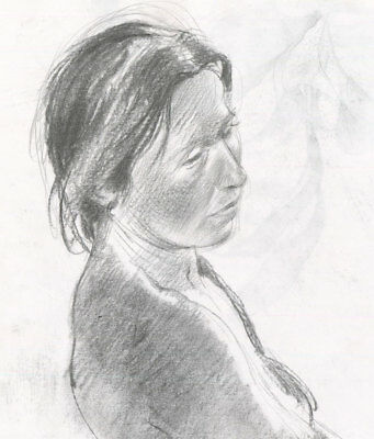 Contemporary Charcoal Drawing - Portrait of a Woman