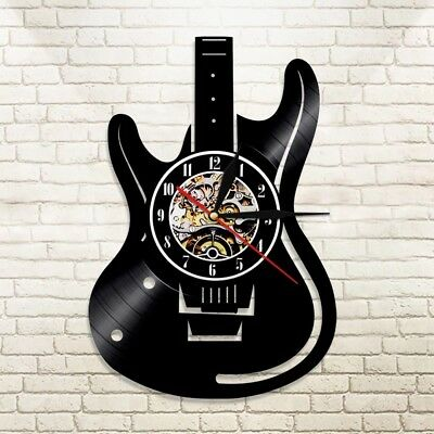 Guitar Vinyl Record Wall Clock Music Vintage LP Wall Clock For Music Lovers