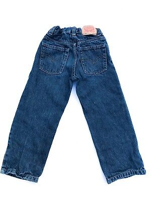 VTG Kids Levi's Relaxed Straight 549Unisex Grunge Black Blue Fade Jeans 3-4 Y