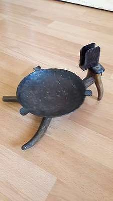 Rauchset Aschenbecher, Ashtray handcrafted iron and horn hunting