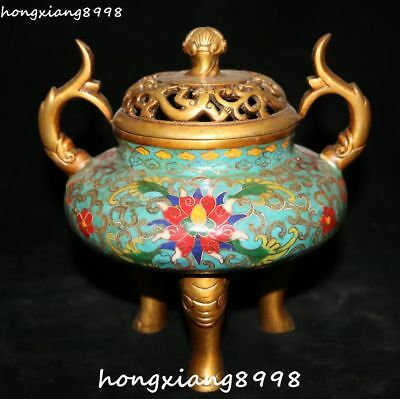 Marked Cloisonne Enamel Gold Gilt Flower Dragon Beast Ruyi Incense Burner Censer