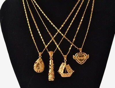 18K Real Yellow Gold Filled Sheet-like Necklace Chain Pendant Engagement Jewelry