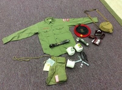 Vintage Official Boy Scouts Items from the 1970's. Shirt, hat, knife, signal. NC