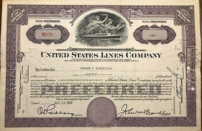 1950 United States Lines Stock Certificate Rare PURPLE SS America Steamship