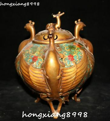 Cloisonne Enamel Gold Gilt Deer Phoenix Phenix Incense Burner Incensory Censer