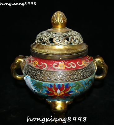 Cloisonne Enamel Gold Gilt Flower Elephant Elephants Head Incense Burner Censer