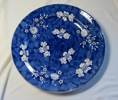 Early Copeland Cracked Ice  Antique Plate Blue with White and a Little Red