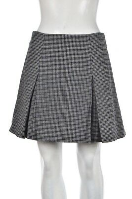 Marc Jacobs Womens Skirt Size 4 Gray Navy Pleated Houndstooth Plaid Wool