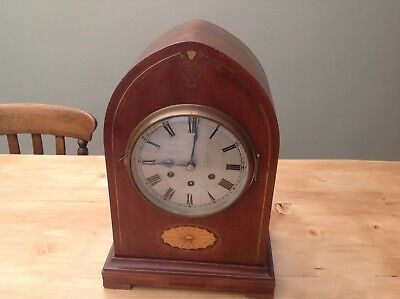 LARGE ANTIQUE BRACKET CLOCK ,MADE BY -GB . COMPLETE WITH KEY ETC. 99p START !