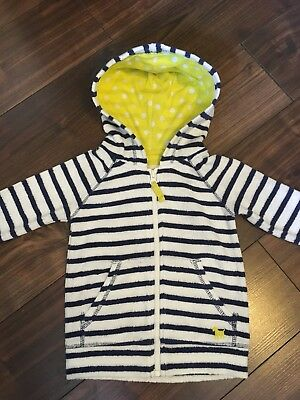 Mini Boden Girls Towelling Hooded Jacket Top Age 2-3 Years Blue White Stripe