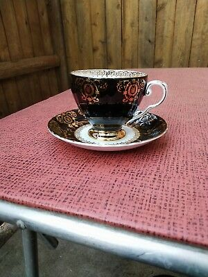 Vtg Royal Grafton Cup & Saucer◾English Bone China◾Black & White & Gold