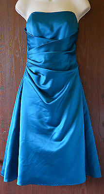 Stunning Alfred Angelo fully lined strapless teal bridesmaid/prom dress size 12