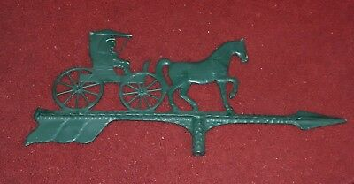 Vintage Weathervane Arrow With Horse And Buggy Painted Green