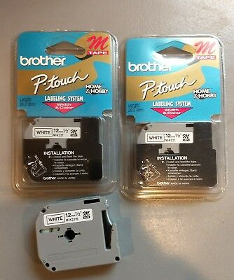 """2 New Genuine Brother M231 P-touch Label Tape M-K231 White 12mm (1/2"""") Labeling"""