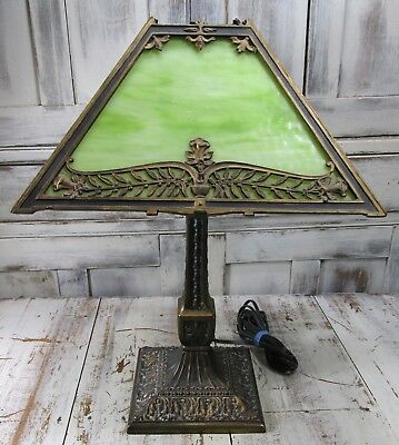Antique P.L.B. & G. Co Arts & Crafts Lime Green Slag Glass Library Table Lamp