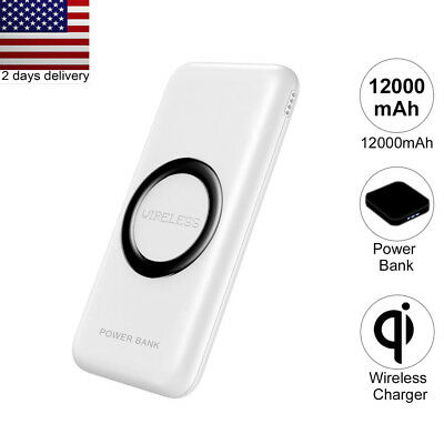 Qi Wireless 12000mah Portable Power Bank External Battery Fast Charger USA