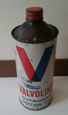 Vintage Valvoline Super Outboard Motor Oil Metal Can Empty Cone Top 1 Qt. Boats