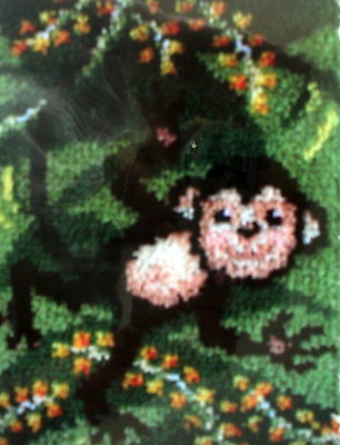 "Latch Hook   Monkey  Rug Canvas Kit ""swinging"""