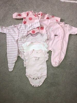 Baby girls Pink sleepsuits and bodysuits bundle (up to 1 month) 10lbs (Next)