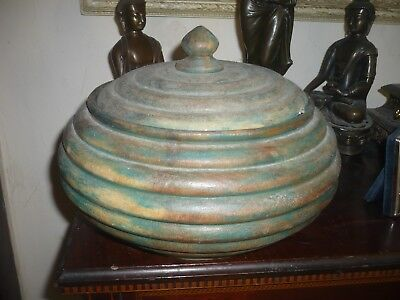 """Vintage quality wooden bee hive style pot with lid unusual large 10"""" diam"""