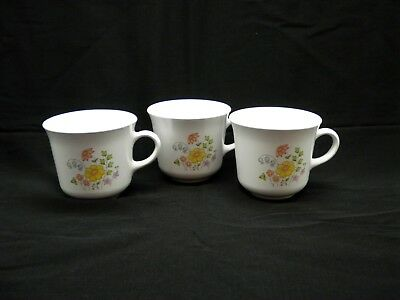 Lot Three Corelle Coffee Cups Meadow Pattern by Corning USA Retired Vintage USA
