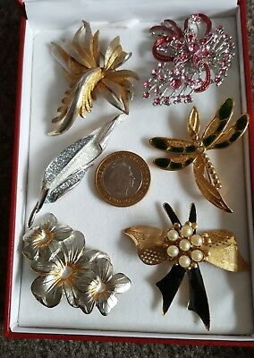 Collection of Six 6 Vintage Antique Brooches Pin