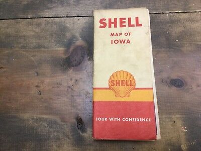 1947  Shell Map of Iowa Vintage Road Map 1947