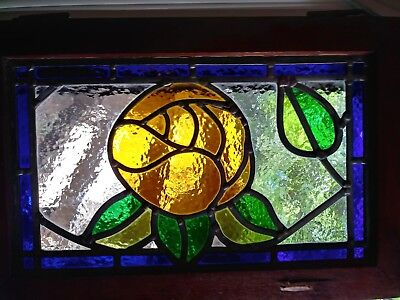 Vintage Yellow Rose Stained Glass w/ Oak Window Panel hanging wood floral garden