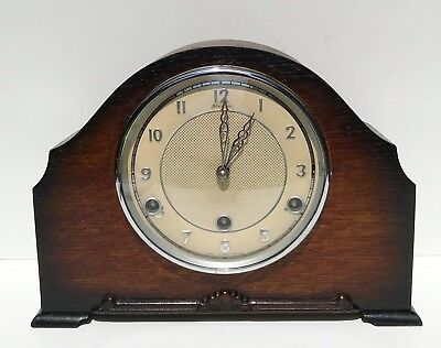 Smiths Enfield Oak Quarter Chiming Mantle Clock Superb