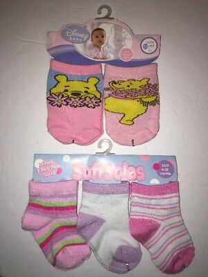 5x Disney Softsoles Baby Girl's Winnie the Pooh Socks Pink Floral 0-6-12 mo