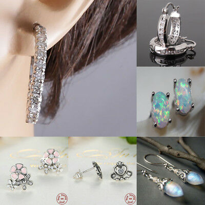 Daisy Flower Fashion Jewelry 925 Silver Opal CZ Women Ear Studs Earrings 1 pair